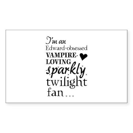 Vampire-loving sparkly twilight fan Sticker (Recta
