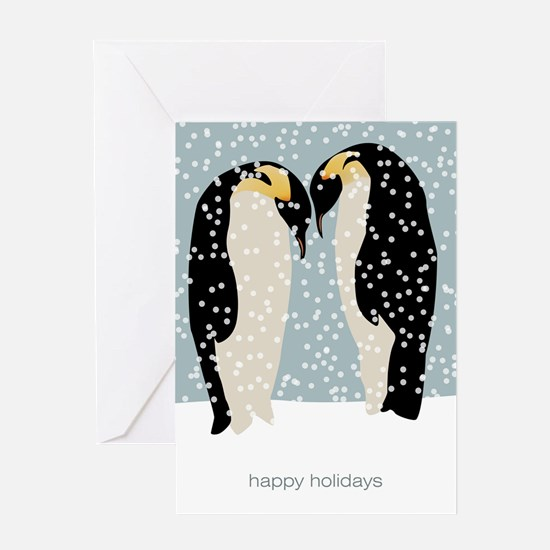 Snowy Penguins Holiday Greeting Card