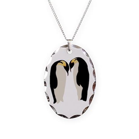 Emperor Penguins Necklace Oval Charm