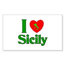 I Love Sicily Rectangle Decal