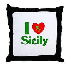 I Love Sicily Throw Pillow