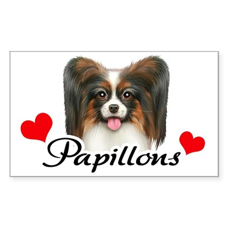 Love Papillons! Sticker (Rectangle)
