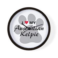 I Love My Australian Kelpie Wall Clock
