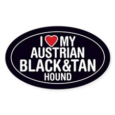 ILove My Austrian Black and Tan Hound Oval Decal