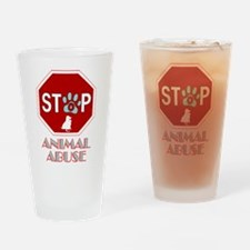 Stop Animal Abuse 1 Drinking Glass