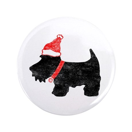 "Xmas Scottie Dog 3.5"" Button"