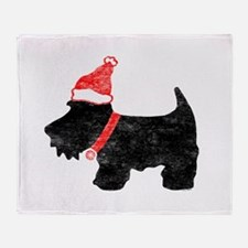 Xmas Scottie Dog Throw Blanket