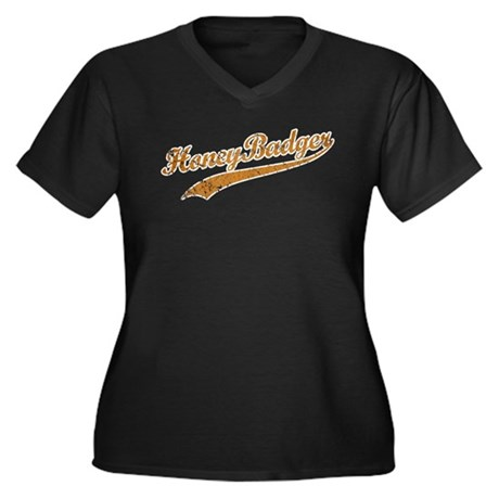 Team Honey Badger Women's Plus Size V-Neck Dark T-