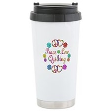 Peace Love Quilting Travel Coffee Mug