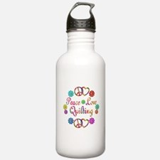 Peace Love Quilting Water Bottle