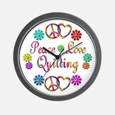 Peace Love Quilting Wall Clock