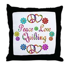 Peace Love Quilting Throw Pillow