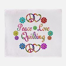 Peace Love Quilting Throw Blanket
