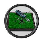 Golf Clubs Bag on Grass Large Wall Clock