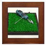 Golf Clubs Bag on Grass Framed Tile