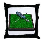 Golf Clubs Bag on Grass Throw Pillow