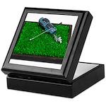Golf Clubs Bag on Grass Keepsake Box