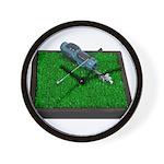 Golf Clubs Bag on Grass Wall Clock