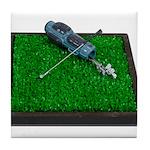 Golf Clubs Bag on Grass Tile Coaster