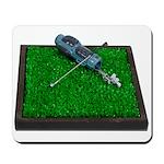 Golf Clubs Bag on Grass Mousepad