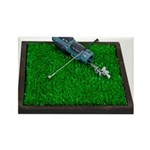 Golf Clubs Bag on Grass Rectangle Magnet