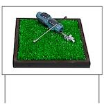 Golf Clubs Bag on Grass Yard Sign