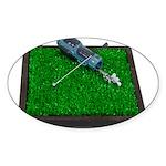 Golf Clubs Bag on Grass Sticker (Oval)