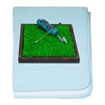 Golf Clubs Bag on Grass baby blanket