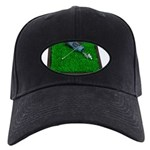 Golf Clubs Bag on Grass Black Cap