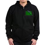 Golf Clubs Bag on Grass Zip Hoodie (dark)