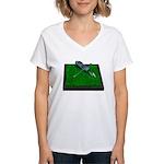 Golf Clubs Bag on Grass Women's V-Neck T-Shirt