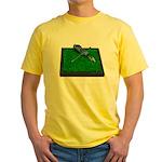 Golf Clubs Bag on Grass Yellow T-Shirt