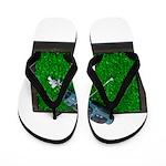 Golf Clubs Bag on Grass Flip Flops