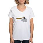 Hammer Broken Glass Women's V-Neck T-Shirt