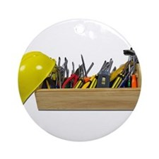 Hardhat Long Wooden Toolbox Ornament (Round)