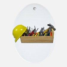 Hardhat Long Wooden Toolbox Ornament (Oval)
