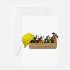 Hardhat Long Wooden Toolbox Greeting Card