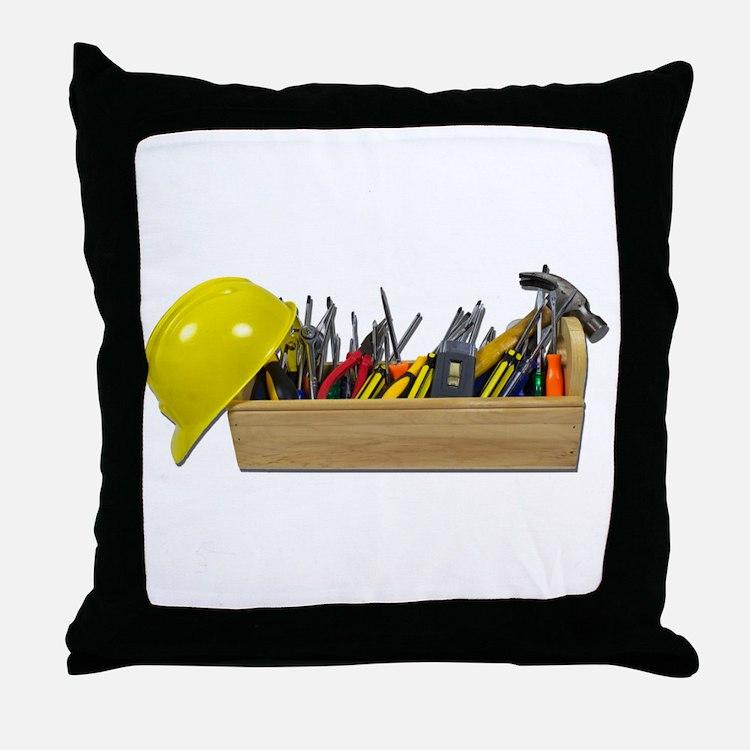 Hardhat Long Wooden Toolbox Throw Pillow