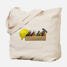 Hardhat Long Wooden Toolbox Tote Bag