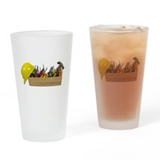 Hardhat Long Wooden Toolbox Drinking Glass