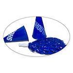 Megaphone Pom Poms Sticker (Oval)