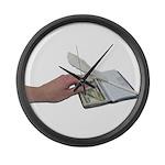 Money Checkbook Large Wall Clock