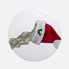 Money Pouring Santa Hat Ornament (Round)