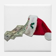 Money Pouring Santa Hat Tile Coaster