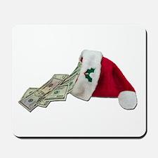 Money Pouring Santa Hat Mousepad
