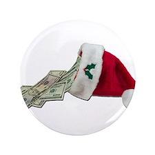 """Money Pouring Santa Hat 3.5"""" Button"""