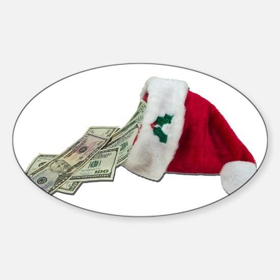 Money Pouring Santa Hat Sticker (Oval)