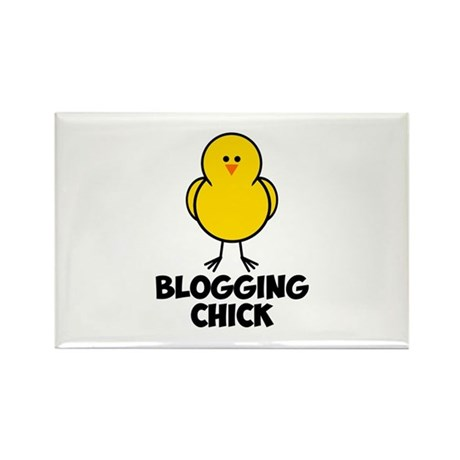 Blogging Chick Rectangle Magnet (100 pack)