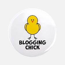 "Blogging Chick 3.5"" Button"