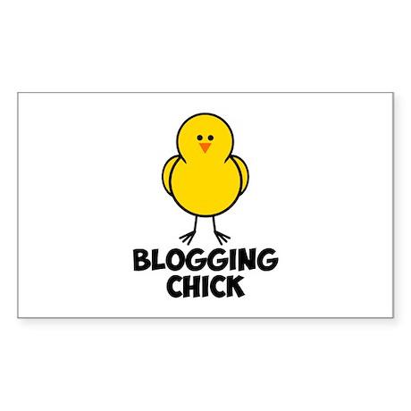 Blogging Chick Sticker (Rectangle 50 pk)